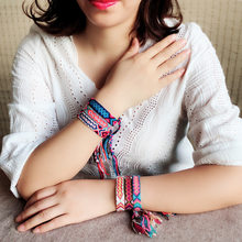 Creative Bracelet Handmade Hemp Cotton Woven Bohemian Color Ethnic Wind Elastic Hand Rope For Women Girl Gift High Quality(China)