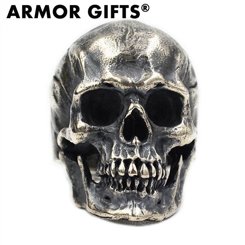 ARMOR Men's Calvarium Skull Ring Gothic 316L Stainless Steel Biker Motorcycle Band Jewellery
