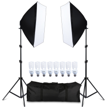 Photography Softbox Lightbox Kit 8 PCS E27 LED Photo Studio Camera Lighting Equipment 2 Softbox 2 Light Stand with Carry Bag godox tl 5 photo studio continuous lighting tricolor light head light stand softbox photography lighting kit