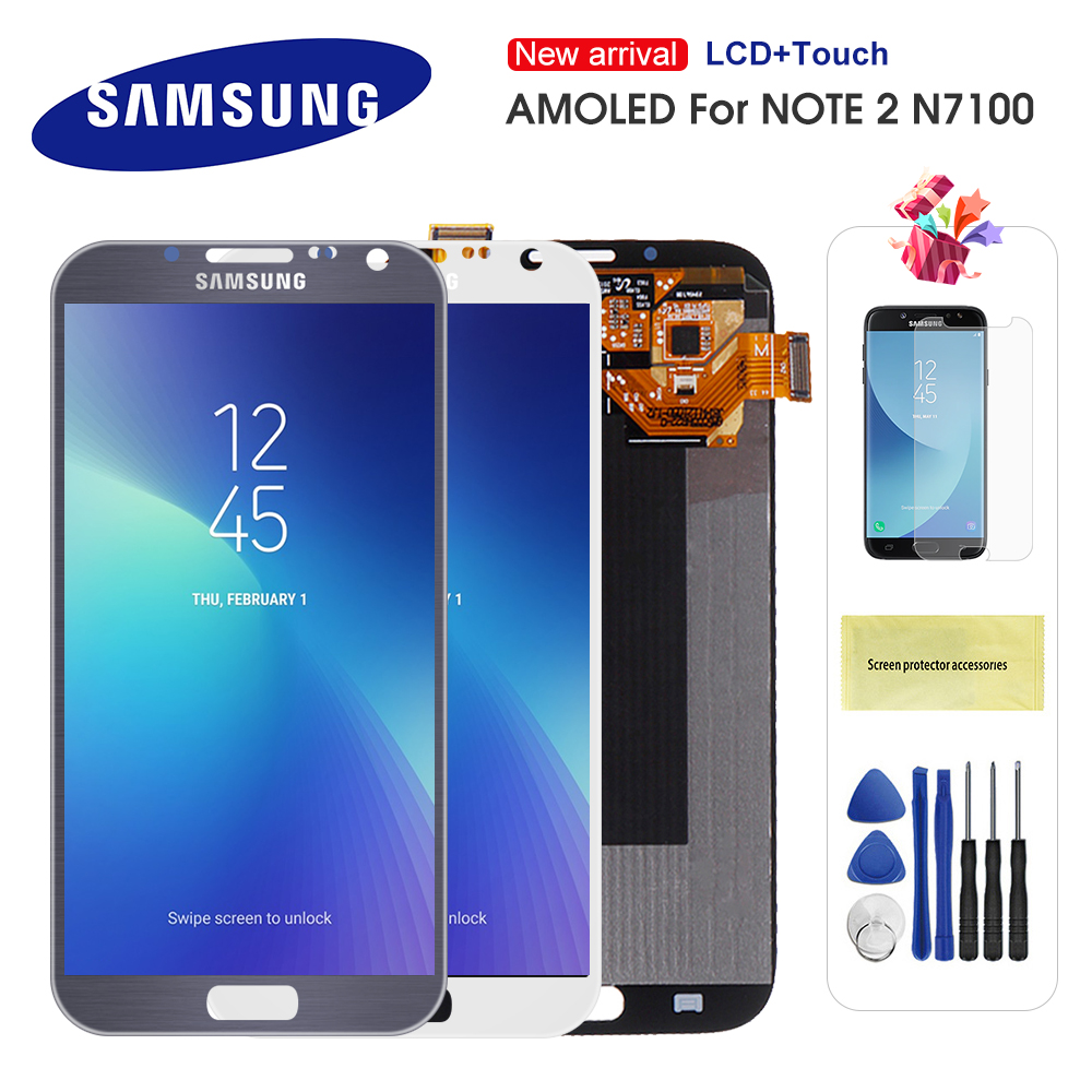 Original Super AMOLED LCD For Samsung Galaxy Note 2 N7100 N7105 LCD Display Touch Screen Digitizer Assembly Replacement image