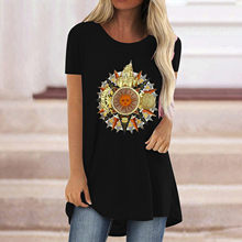 Sun moon print oversized camiseta feminina verão 2021 solto topo camisetas casuais feminino manga curta topos roupas femininas camiseta