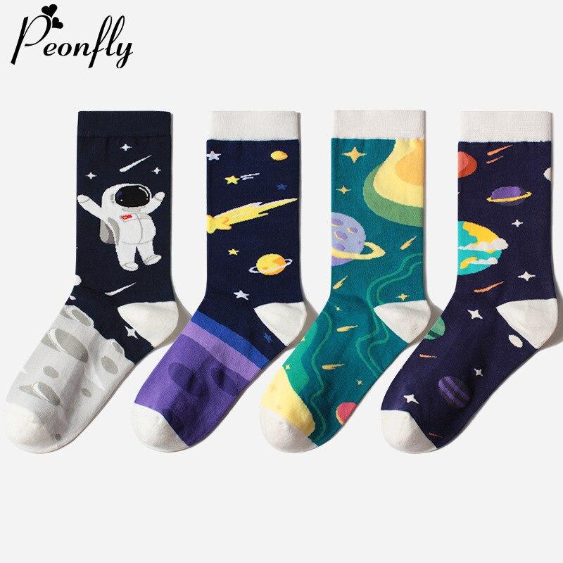PEONFLY Men's Astronaut Sock Funny Cotton Happy Socks Skateboard Hip Hop Planet Street Crew Harajuku Art Fashion Socks