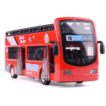1:32 Alloy Bus Car Model Sightseeing Acoustic Light Double Deck Outdoor Bus Model Pull Back Doors Open Car Kids Toys Cars Gift double decker bus london bus design car toys sightseeing bus vehicles urban transport vehicles commuter vehicles