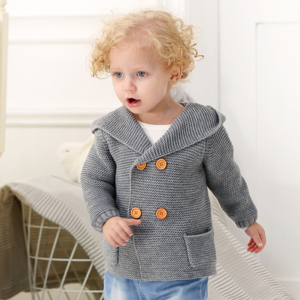 Image 4 - Baby Girl Sweater Winter Cartoon Bear Newborn Boys Cardigan Autumn Grey Toddler Knitted Jackets Long Sleeves Infant Knitwear Top-in Sweaters from Mother & Kids