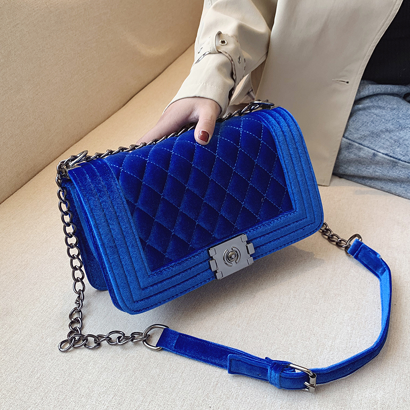 Brand Quilted Shoulder Hand Bags Designer Luxury Crossbody Bags For Women 2020 Quality Velvet Small Chain Purses And Handbags