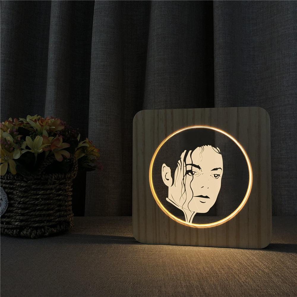 michael jackson famosa estrela do rock 3d arylic led noite candeeiro de mesa de madeira escultura