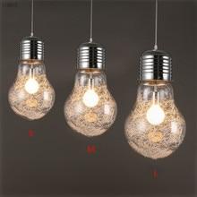 Personalidad creativa luces colgantes hierro cristal gran bombilla vintage Barra de lámpara ruso almacén 300mm * 450mm grandes lámparas colgantes