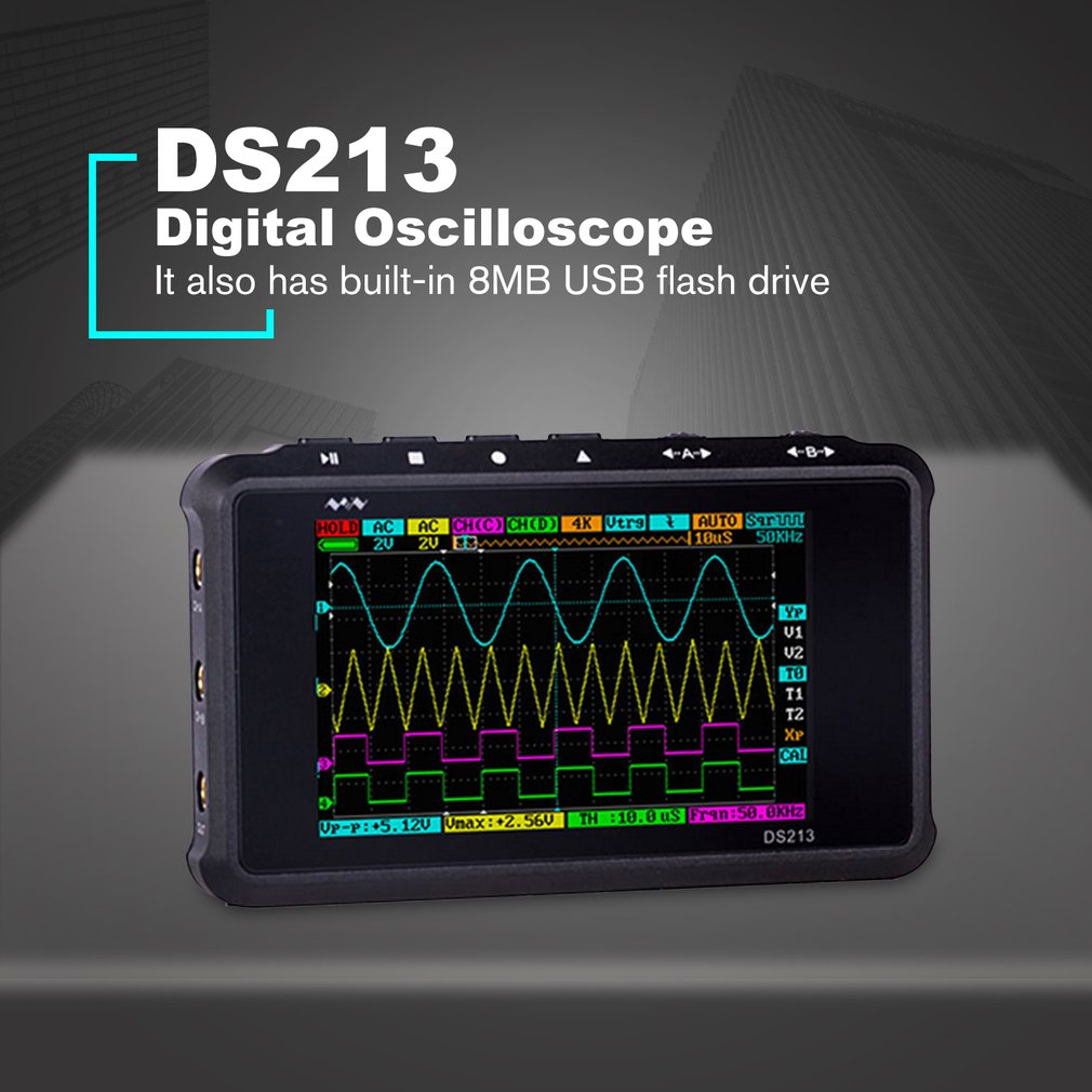 DS213 Portable Digital Storage Oscilloscope 4 Channel 15MHz Bandwidth Mini DSO Scopemeter Scope Meter image