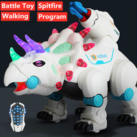 High Simulation dinosaur Toy model With Walking flash Light Smart Dinosaur robot Can Spitfire battle dinosaur Toy Programming