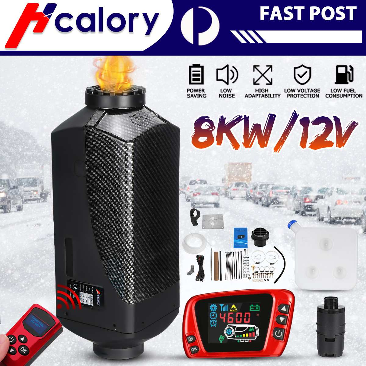 HCalory Air Diesels Heater 8KW 12V Singal Hole Car Heater For Trucks Motor-Home Boats Bus +LCD Switch +Silencer+Remote Control