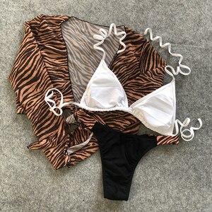 Image 5 - 2020 sexy leopardo três peças conjunto de biquíni tanga banho feminino biquinis brasileiros maiô africano beachwear manga longa
