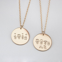 Personalized Family Necklace Handmade Initial Necklace 19MM Coins Choker Custom Gold Filled Pendants Collier Femme Kolye Jewelry