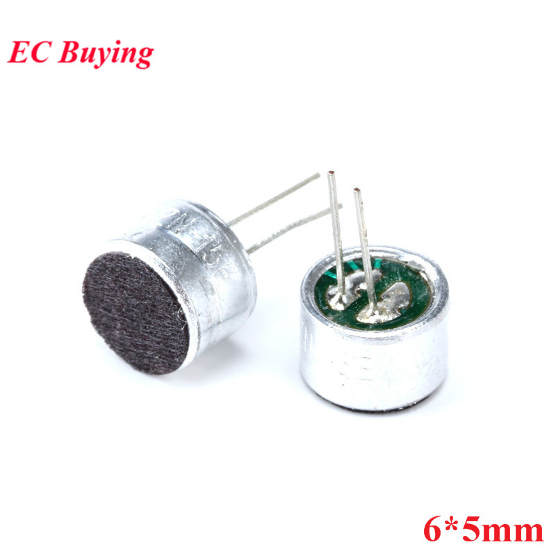 20pcs Microphone 6*5mm Capacitive Electret Microphone Pick-Up Sensitivity 52D Microphone Condenser MIC 6x5mm 6mmx5mm