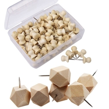 100x Wood Push Pins,Decorative Thumb Tacks Used on Cork Boards or Maps & 18Pcs Geometric Wood Decorative Push Pins