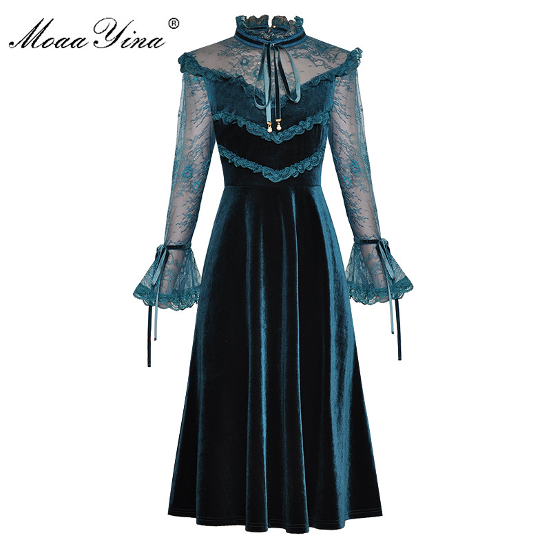 MoaaYina Fashion Designer Runway dress Spring Summer Womens  Dress Lace Long sleeve Patchwork Velvet DressesDresses