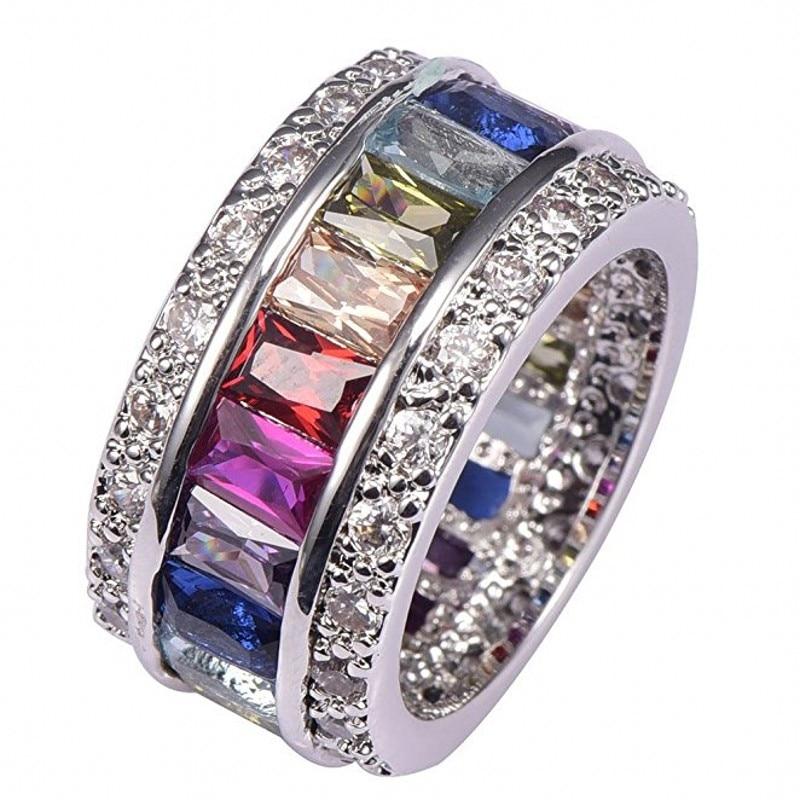 Eternal SAPPHIRE RUBY PERIDOT KUNZITE TOPAZ 925 Sterling Silver Engagement Wedding Rings for Women Men Natural gemstone Jewelry