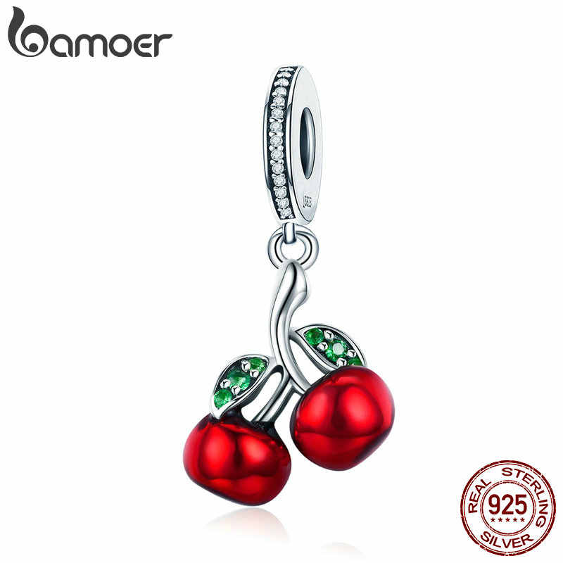 BAMOER Trendy 925 Sterling Silver Fruit Red Enamel Cherry pendant Charm Fit Women Bracelets & Necklaces Fashion Jewelry SCC784