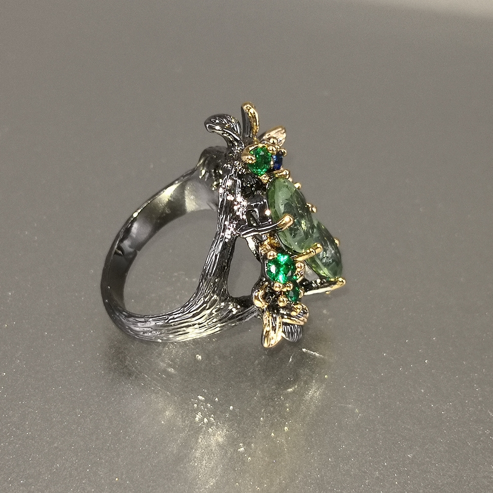 DreamCarnival 1989 Stunning CZ Rings for Women Engagement Party Vintage Flower Ring Eye Catching Olivine Zircon Jewelry WA11688 5