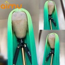 Цветной Омбре зеленый прямой HD невидимый прозрачный кружевной фронтальный парик Полный 360 человеческие волосы кружевной передний парик пр...