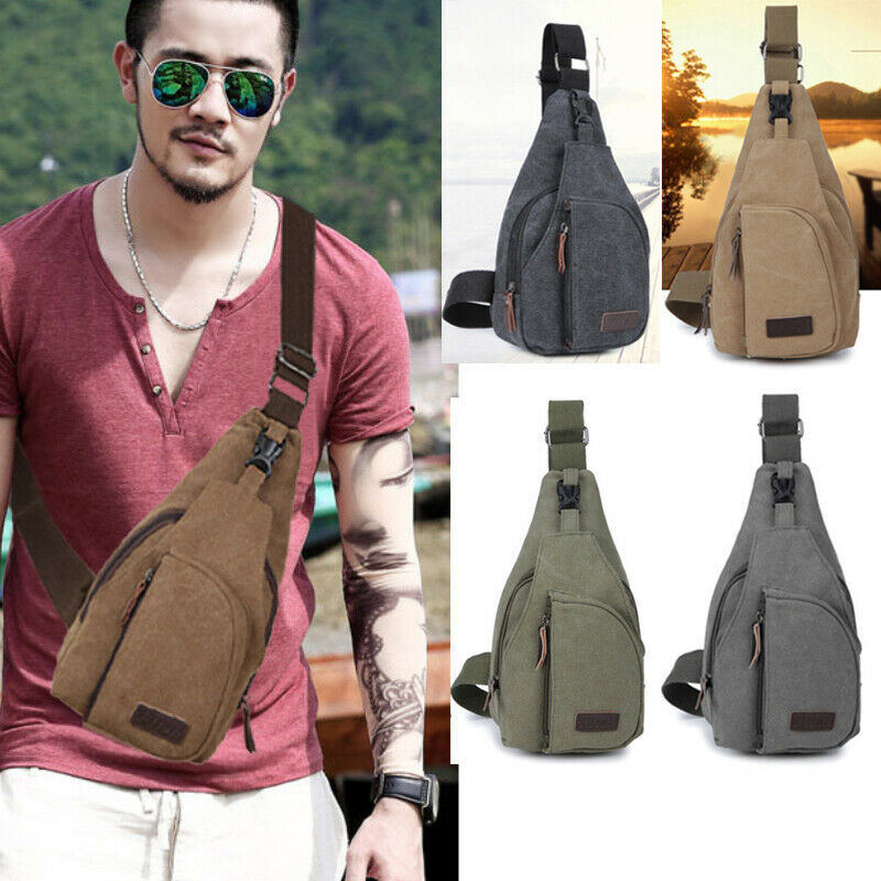 Fashion Newest Men Women Nylon Sling Canvas Bag Backpack Crossbody Shoulder Chest Cycle Daily Travel