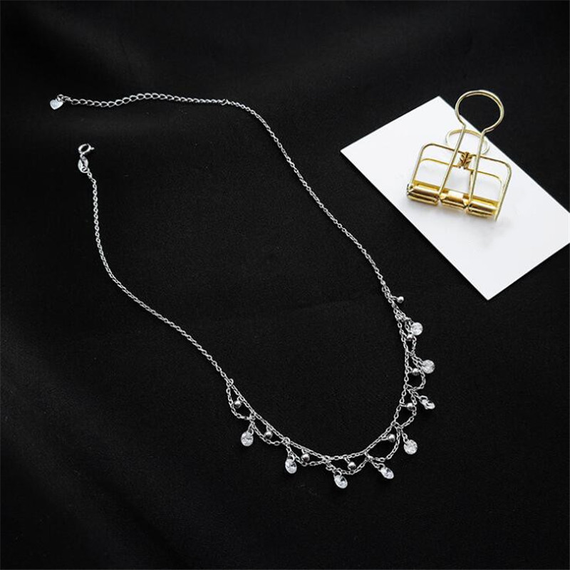 New Collar Temperament Beautiful 925 Sterling Silver Jewelry Personality Clavicle Chain Wild Hipster Crystal Necklaces H548