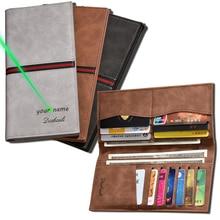 кошелек мужской Vintage Men Leather Brand Luxury Wallet Long Slim Male Purses Money Clip Credit Card Provide Name Engrave