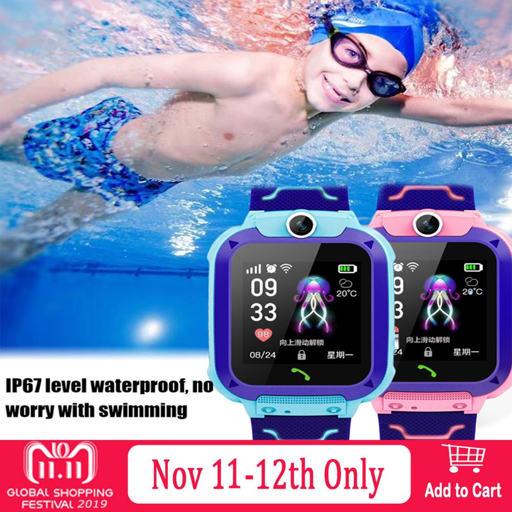 Kids Children Multifunction Waterproof SOS Anti-lost Smart Watch Touch Screen Smartwatch Phone Tracker Locator Real-time Monitor