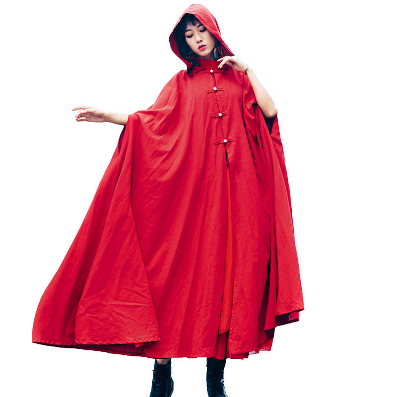 kerst outfit 2020 Hooded red cloak women 2020 spring autumn literary vintage womens