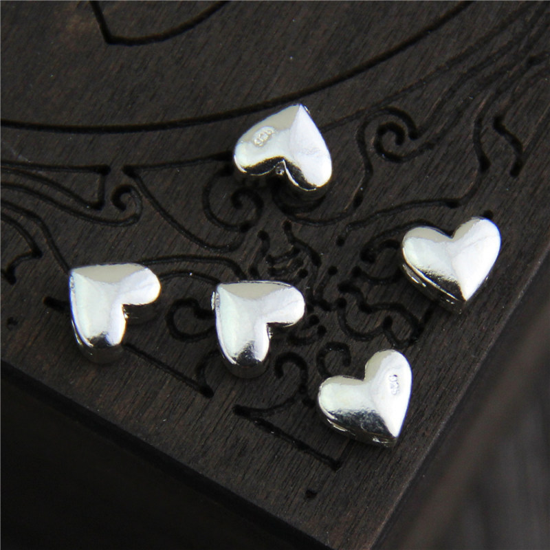Real 925 Sterling Silver Loose Beads Heart Shape Charm Spacer Beads DIY Bracelet Necklace Making Fine Jewelry Accessories