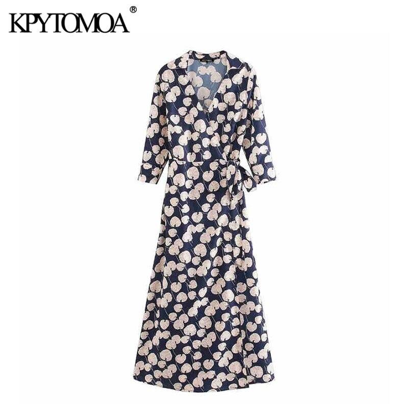 KPYTOMOA Women 2020 Elegant Fashion Office Wear Floral Print Maxi Dress Vintage With Slashes Three Quarter Sleeve Female Dresses