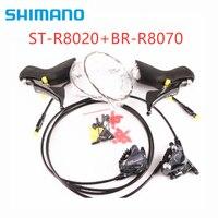 Shimano ultegra st r8020 gatilho shifter + br r8070 sti freios a disco hidráulico montagem plana 2x11 velocidade Desviador de bicicleta    -