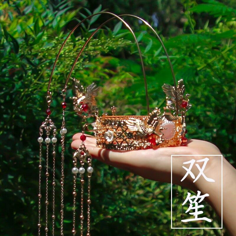 Ancient Style Hair Crown Sets Hairpin Classical Temperament Bride Head Crown Hanfu Hair Accessories Long Tassel Phoenix Crown