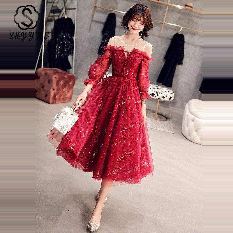 Skyyue K353 Prom Dress A-Line Sequined Plus Size Tea-Length Vestidos De Gala New O-Neck Three Quarter Sleeve Tulle Party Dresses