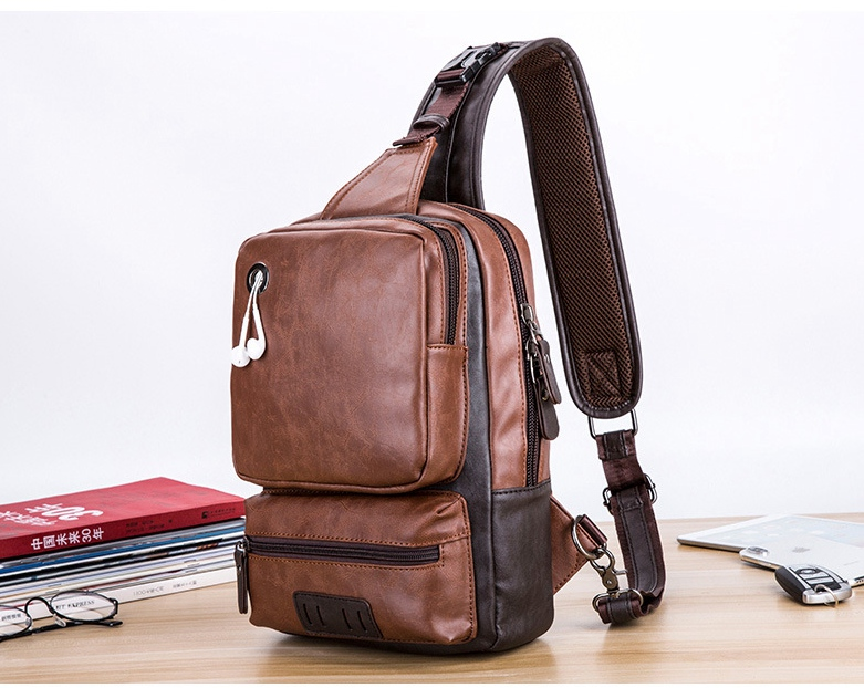 Casual Sling Bag Trendy Chest PU Leather Large Capacity Shoulder Outdoor Sport Cross
