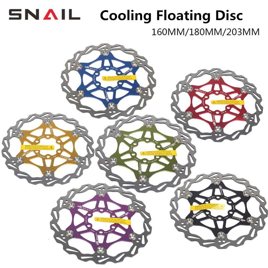 SNAIL MTB Mountain Bike Floating Disc Brake Pads 160mm 180mm 203mm Six-nail Disc Rotor Bicycle Brake Pad