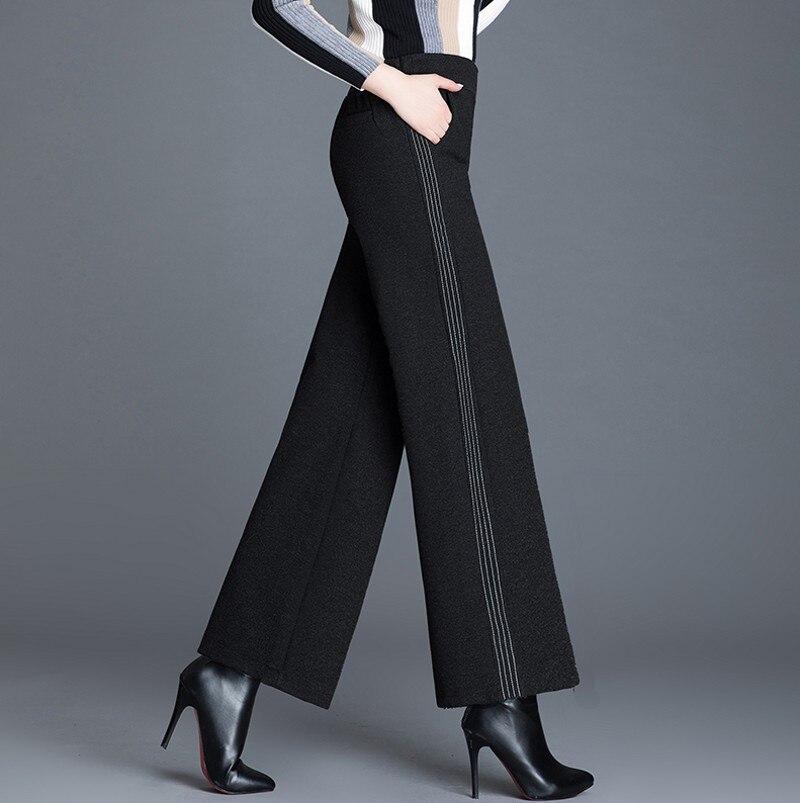 woolen   wide     leg     pants   women trousers 2019 winter high waist casual female   pants   Solid loose womens   legs   trousers