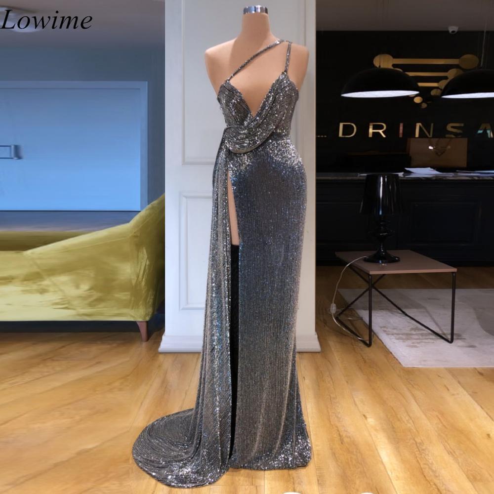 Newest Glitter Arabic Sexy Cocktail Dresses 2019 Long Mermaid Spaghetti Prom Dress High Split Summer Beach Turkish Abendkleider