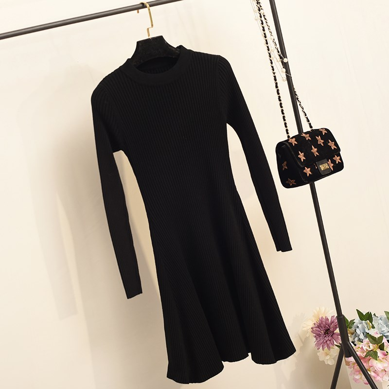 H201df705bc7f4089960e2ea38ec9ffa13 - Women Long Sleeve Sweater Dress Women's Irregular Hem Casual Autumn Winter Dress Women O-neck A Line Short Mini Knitted Dresses