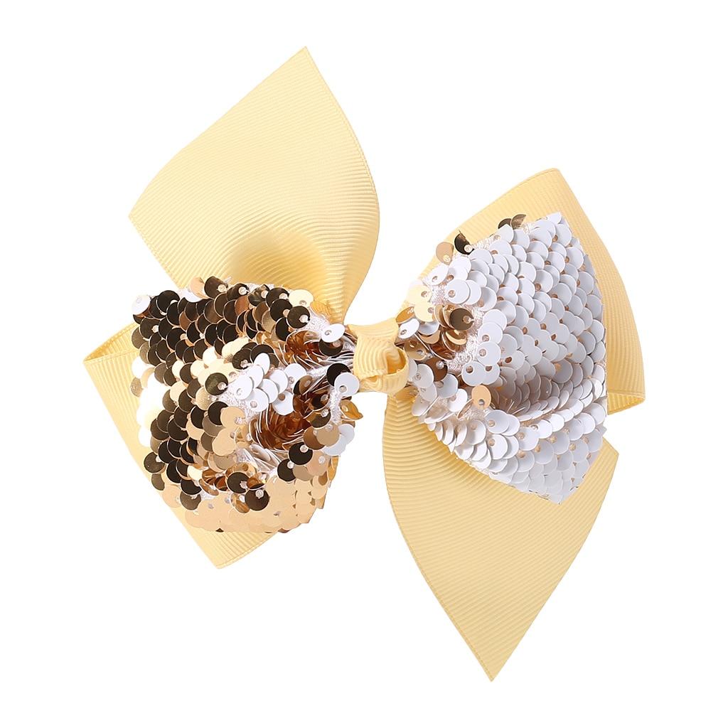Заколка для волос для малышей, девочек, бант, Блестящие Блестки, милые аксессуары для принцессы, детские шпильки D08C - Цвет: Цвет: желтый