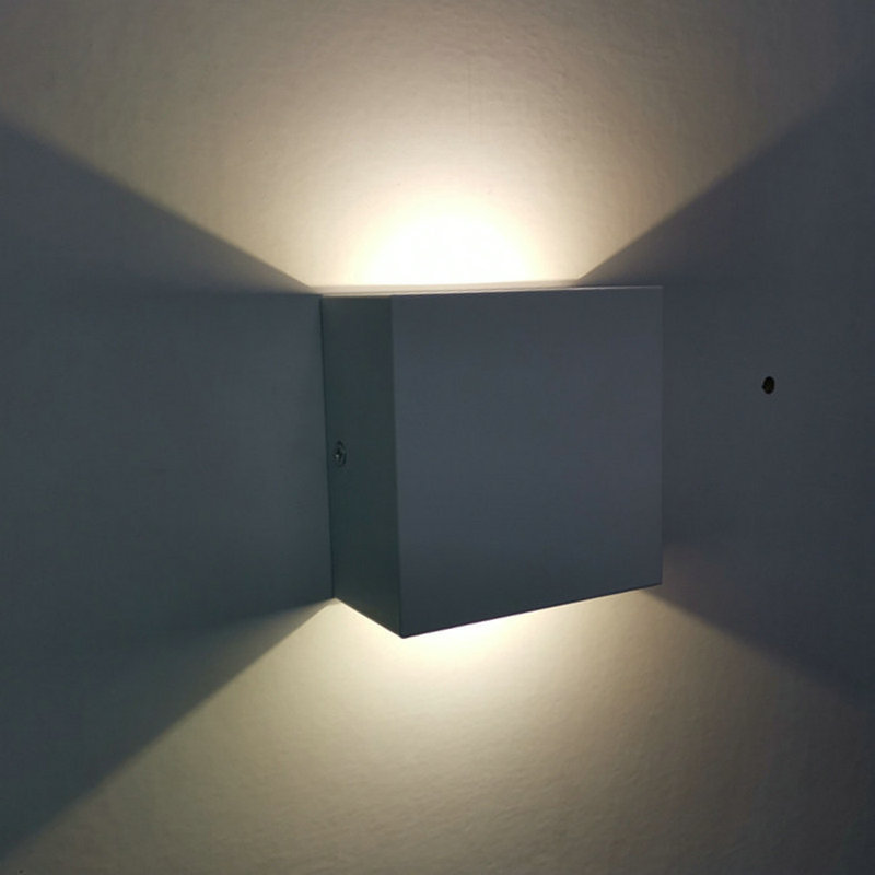 LED square indoor aisle wall lamp double head up and down light hotel room bedside lamp corridor light 6W black white 110v220v(China)
