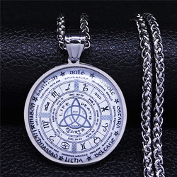 2021 Irish Knot Astrology Stainless Steel Glass Long Chain Necklace Silver Color Necklace Women Jewelry gargantilla N5147S03