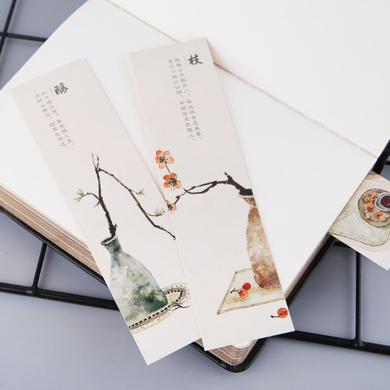 30pcs Creative Chinese Style Paper Bookmarks Painting Cards  Retro Beautiful Boxed Bookmark Commemorative Gifts DXAC