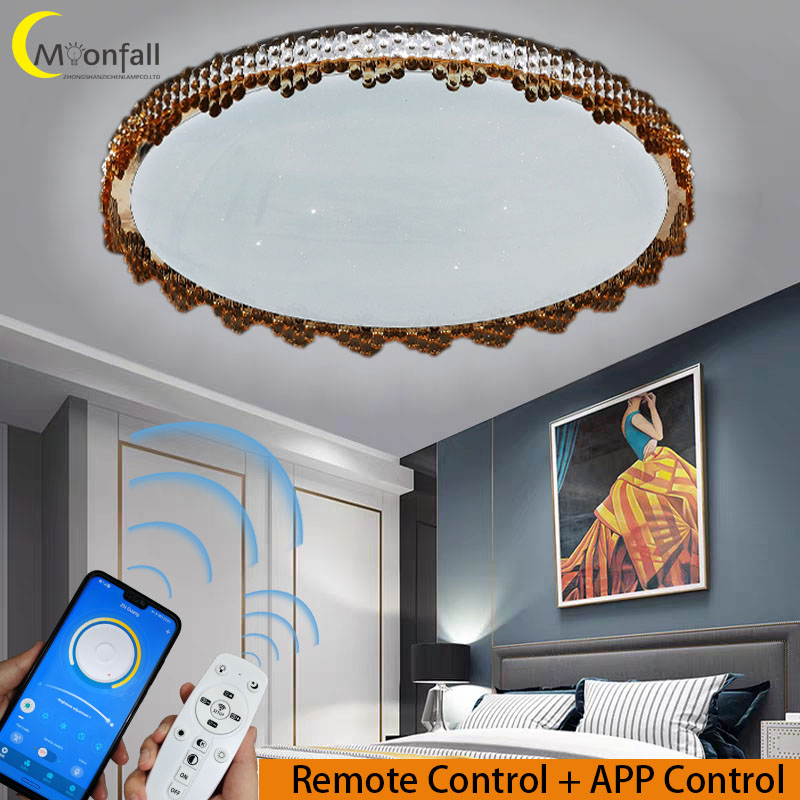 Купить с кэшбэком Moonfall-LED Ceiling light RGB lamp Modern Simple style light with star Lamps for Living room Bedroom Kitchen Dining room36W 72W