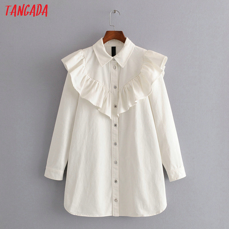 Tangada Women Elegant White Denim Dress Ruffles 2020 Spring Fashion Long Sleeve Lady Shirt Dresses Vestidos 3H248