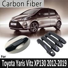 Черное углеродное волокно для Toyota Yaris XP130 Vitz 2012 2013 2014 2015 2016 2017 2018 2019 крышка дверной ручки Наклейка Автомобильные аксессуары