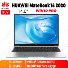 Оригинальный ноутбук HUAWEI MateBook 14, 2020 дюйма, Intel Core i5 10210U/i7 10510U 8 ГБ/16 ГБ, LPDDR3, 512 Гб SSD, Windows 10 Pro, английский язык