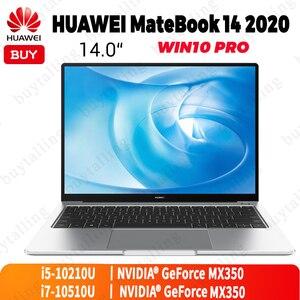 Image 1 - Original huawei matebook 14 2020 portátil 14 polegada intel core i5 10210U/i7 10510U 8gb/16gb lpddr3 512gb ssd windows 10 pro inglês