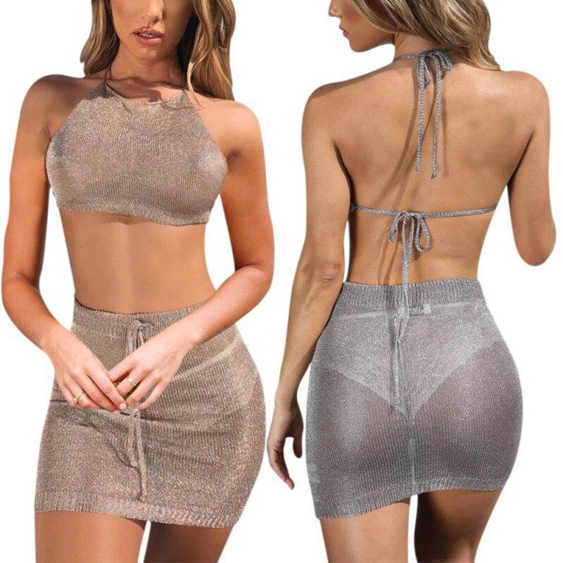 Sexy 2 Pieces Set Women Small Fragrance Wind Hanging Neck Straps Halter Vest+ Bag Hip Skirt Suit