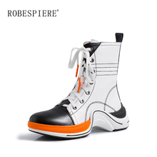 ROBESPIERE Genuine Leather Boots Women New Sneakers Style Plush Casual Shoes Woman Mixed Colors Lace Up Platform Ankle Boots B43
