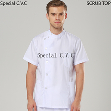 Men's Uniforms Stand Collar Scrub Top Side Opening Coat Thin with Seven Buttons Short Sleeve Jacket Summer Lab Workwear